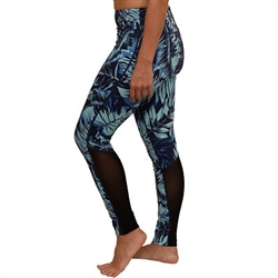 Tropical Fern Mesh Long Yoga Pants