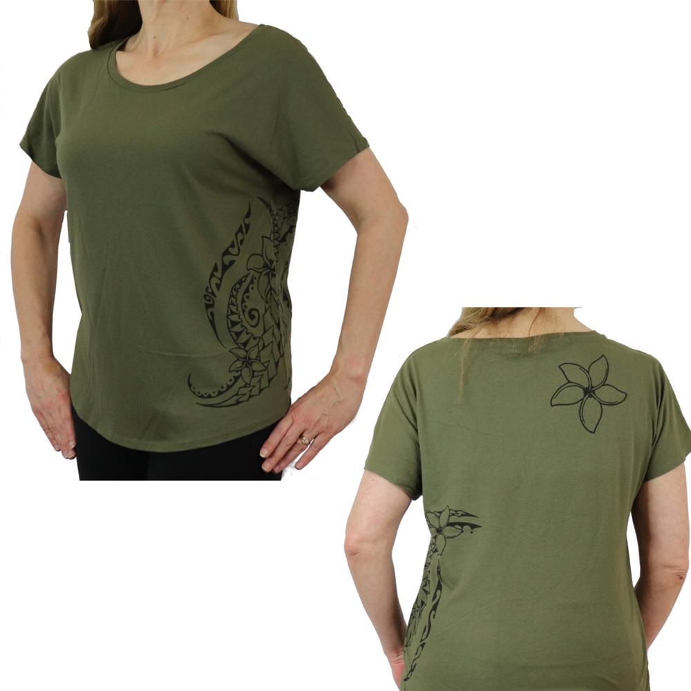 Ori Active Women/'s Polynesian  Hawaiian Print Hibiscus Tattoo Relaxed Fit Black Short Sleeve T Shirt Dolman Sleeve /& curved bottom hem