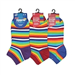 Sunfort - Thin striped ankle socks - candy