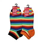Sunfort - Thin striped ankle socks - rainbow
