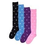 Sunfort - Plain knee high socks with stars