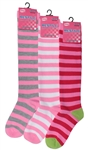 Sunfort - Striped pink knee highs for kids