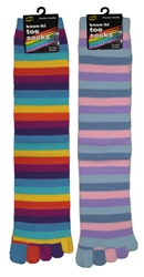 Sunfort - Striped knee-high toe socks