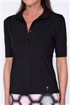 Golftini Elbow Sleeve Fashion Tech Polo - Black