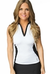 Flir-Tee Illusion Racerback Golf Polo - White/Black