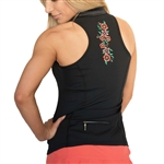 FlirTee Embroidered Racerback Polo - 2 Colors