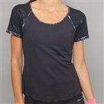 Denise Cronwall Cap Sleeve Top Villa Black