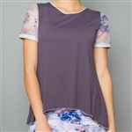 Denise Cronwall Mesh Sleeve Top - Mystical, Violet