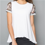 Denise Cronwall Mesh Sleeve Top - Vivid Dark, White