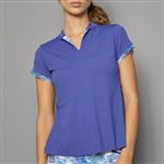 Denise Cronwall Cap Sleeve Polo - Scotia Blue
