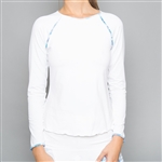Denise Cronwall Trista White Long Sleeve Fitness Top