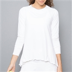 Denise Cronwall White Mesh Long Sleeve Top