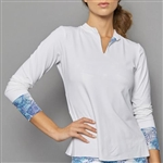 Denise Cronwall Long Sleeve Collar Top - Scotia White