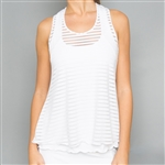 Denise Cronwall White Sheer Layer Fitness Top