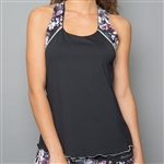Denise Cronwall Racerback Top - Vivid Dark Black