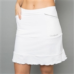 Denise Cronwall Long White Mesh Golf Skort