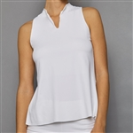 Denise Cronwall Sleeveless Collar Top - Pure White