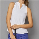 Denise Cronwall Sleeveless Collar Top - Scotia White