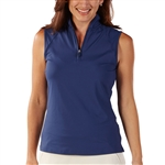 Bobby Jones Tech Sleeveless Zip Polo - Summer Navy