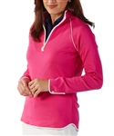 Bobby Jones Pima Cotton Quarter Zip Pullover Flamingo