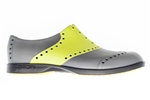 BIION Saddle Golf Shoe - Cool Grey & Lime