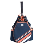 Ame & Lulu Parker Tennis Backpack - Coral + White Stripe