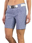 JoFit Belted Golf Short - Birch Pinstripe