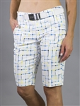 JoFit Limoncello Check Belted Bermuda Shorts