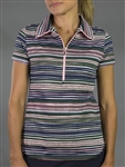 JoFit Aurora Stripe Tipped Short Sleeve Polo
