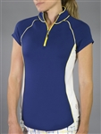 Jofit Short Sleeve Raglan Mock - Blue Depth/Yellow