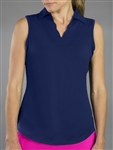 JoFit Scallop Sleeveless Blue Depth Polo