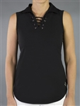 Jofit Lace Up Sleeveless Polo - Black