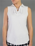 Jofit Lace Up Sleeveless Polo - White