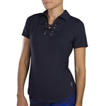 Jofit Lace Up Short Sleeve Polo - Midnight