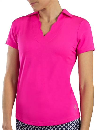 Jofit Scallop Short Sleeve Polo - Fluorescent Pink