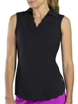 JoFit Scallop Black Sleeveless Polo