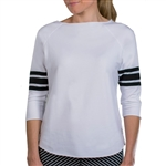 JoFit 3/4 Sleeve Terry Pullover - White