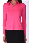 Golftini Long Sleeve Hot Pink Zip Tech Ruched Polo
