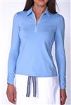 Golftini Long Sleeve Light Blue Zip Tech Ruched Polo