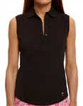 Golftini Sleeveless Eyelet Black Polo