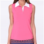 Golftini Hot Pink Sleeveless Contrast Tech Polo