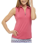 Golftini Hot Pink Sleeveless Zip Tech Polo