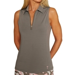 Golftini Grey Sleeveless Zip Tech Polo