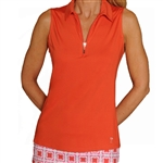 Golftini Orange Sleeveless Zip Tech Polo