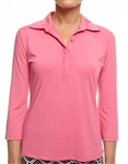 Golftini 3/4 Sleeve Ruffle Tech Polo - Hot Pink