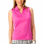 Nancy Lopez Luster Hot Pink Sleeveless Polo