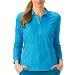 Nancy Lopez Grace Blue Bird 3/4 Sleeve Polo