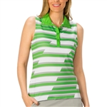 Nancy Lopez Gear Palm/Silver Sleeveless Golf Polo