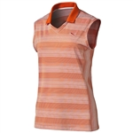 Puma Dense Stripe Sleeveless Polo - Cherry Tomato