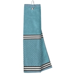 Just4Golf Turquoise Stripe Waffle Towel